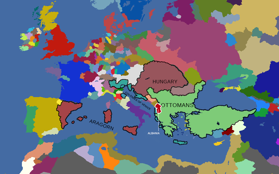 Map of Europe at the commencement of Skanderbeg's rebellion