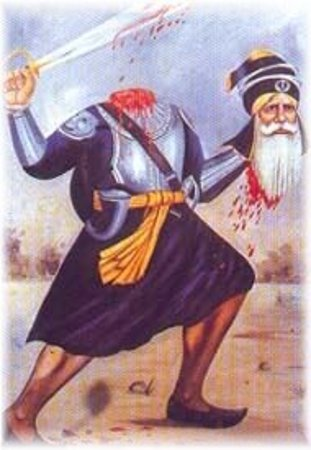 Baba Deep Singh fulfils his oath.