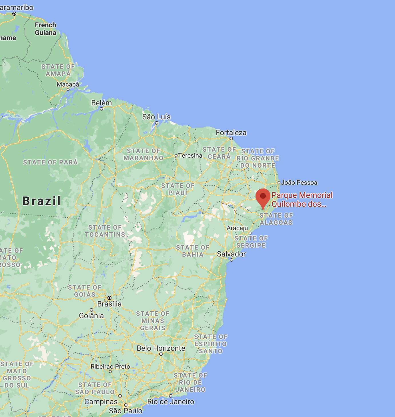Approximate location of the Quilombo Dos Palmares