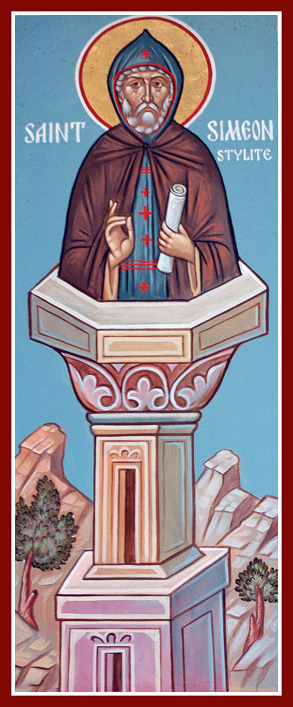 St Simeon, on his pillar where he lived for 37 years