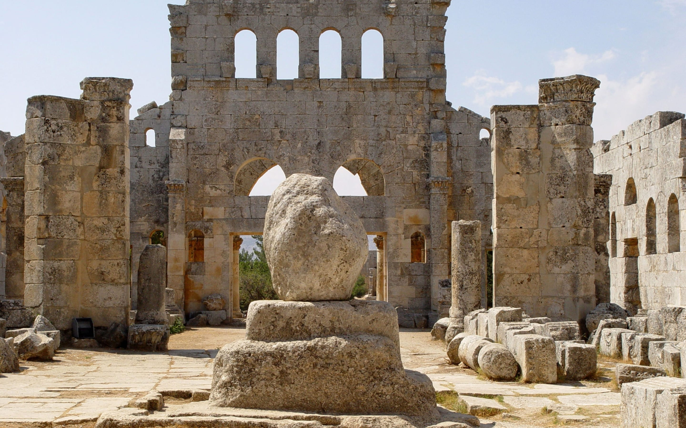 St Simeons Pillar, prior to its demolition by ISIS.